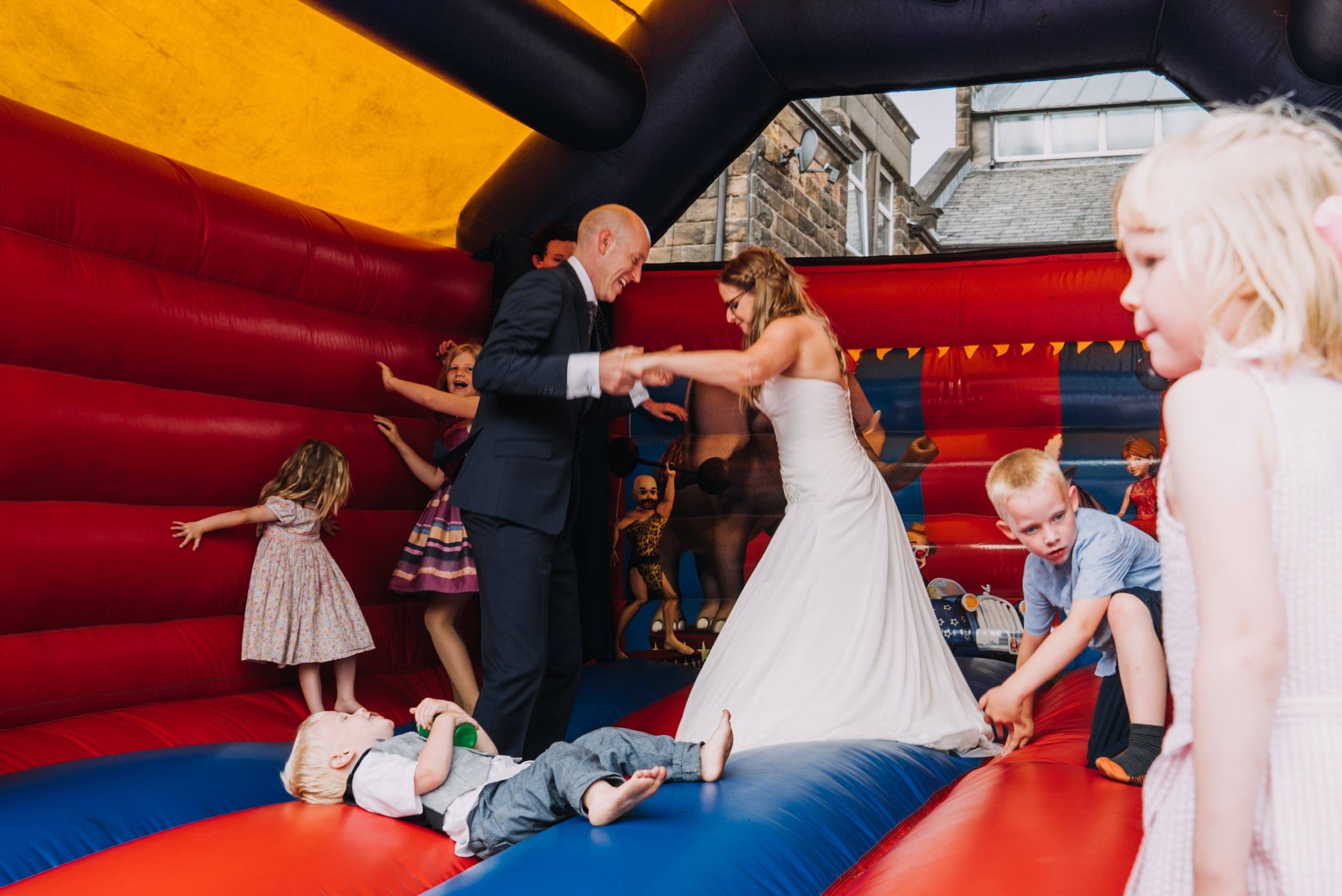bride and groom bouncy castle