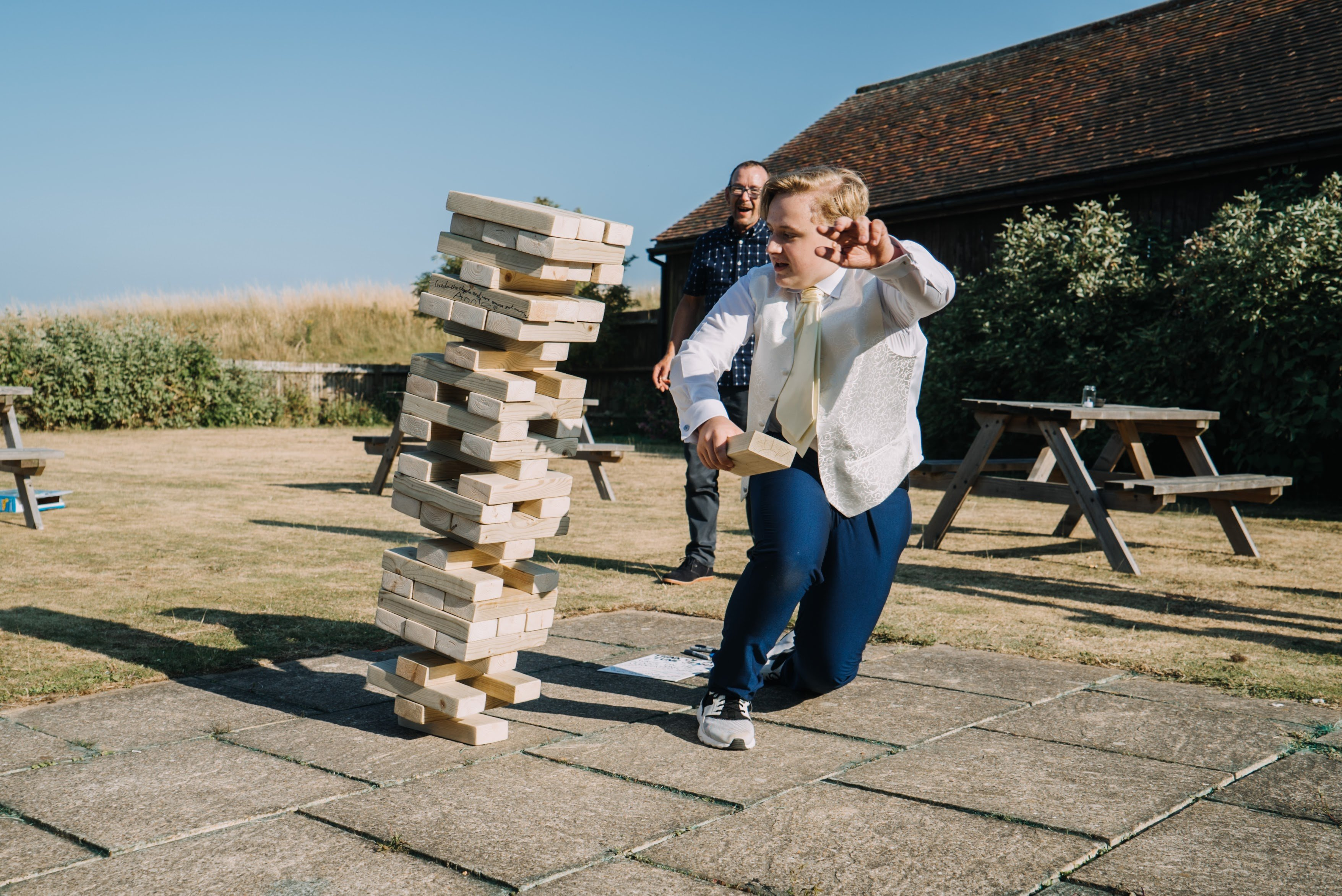 Running away from falling Jenga