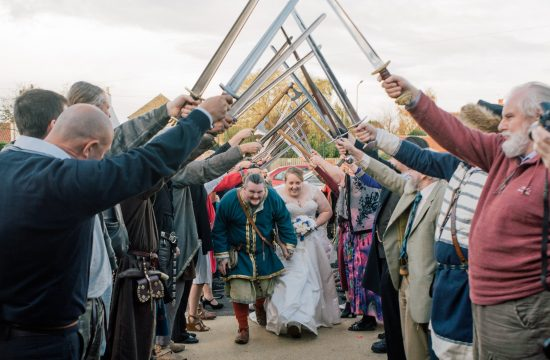 Viking themed wedding Sword Arch