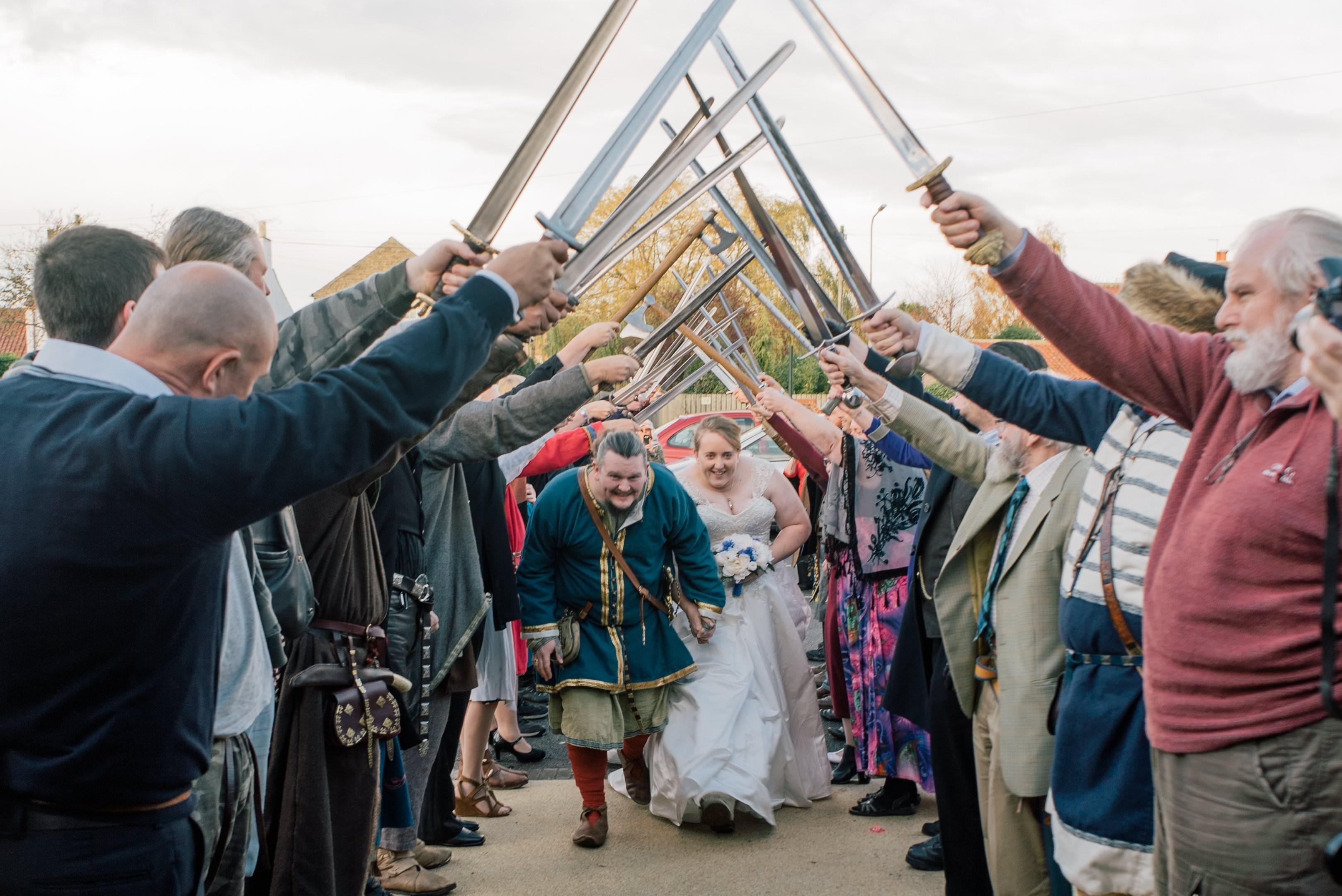 Viking themed wedding Sword Arch
