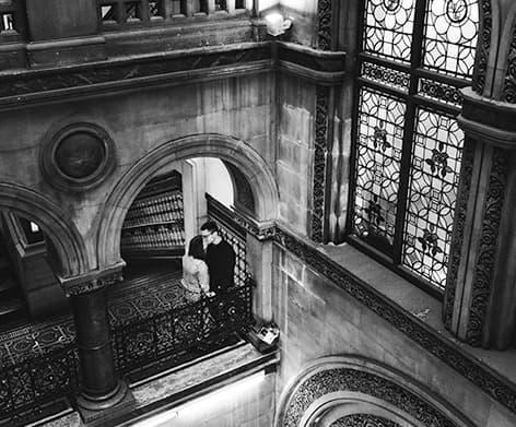 Bride Groom kissing Leeds Library