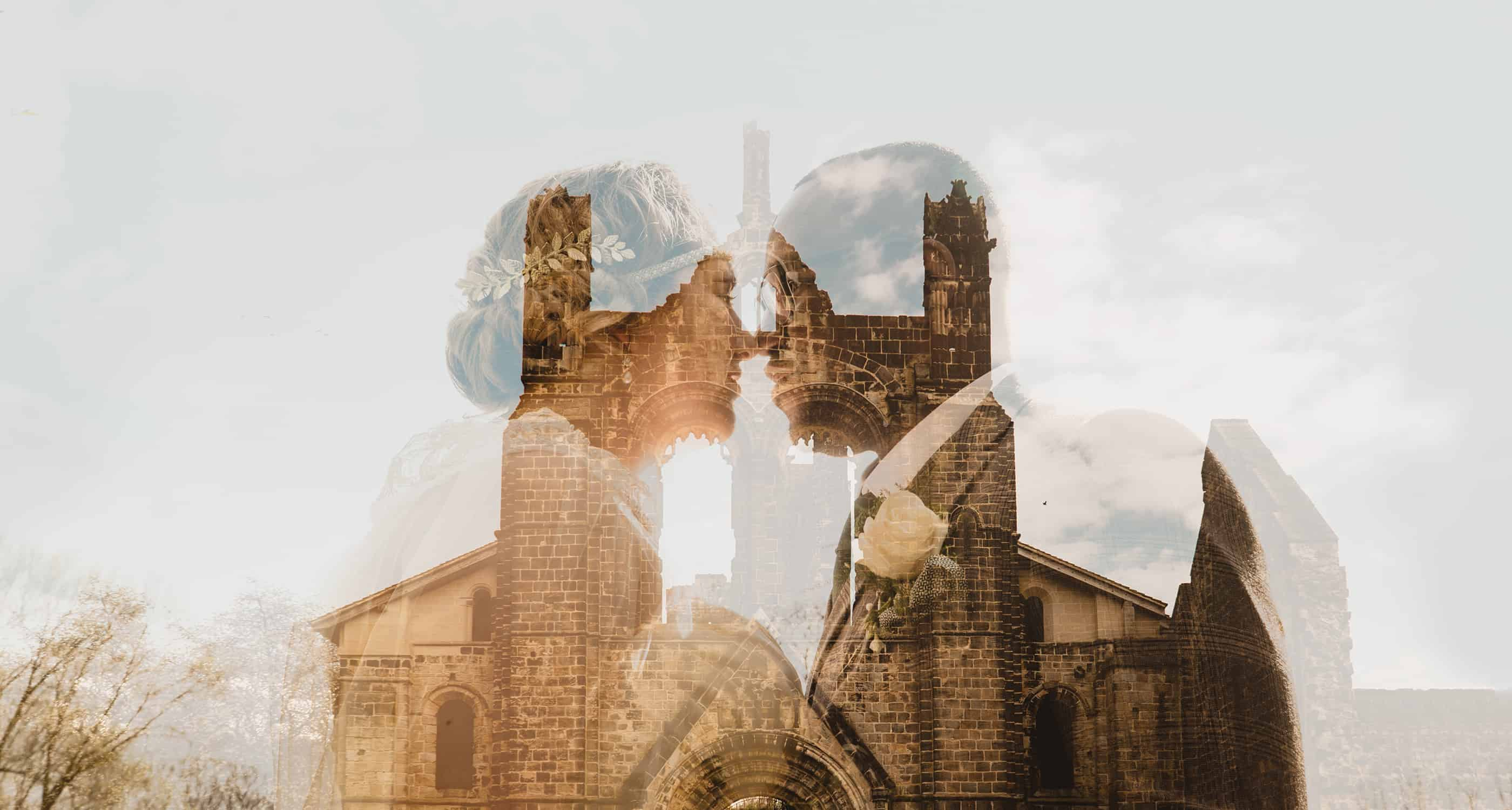 Bride and Groom in Kirkstall Abbey